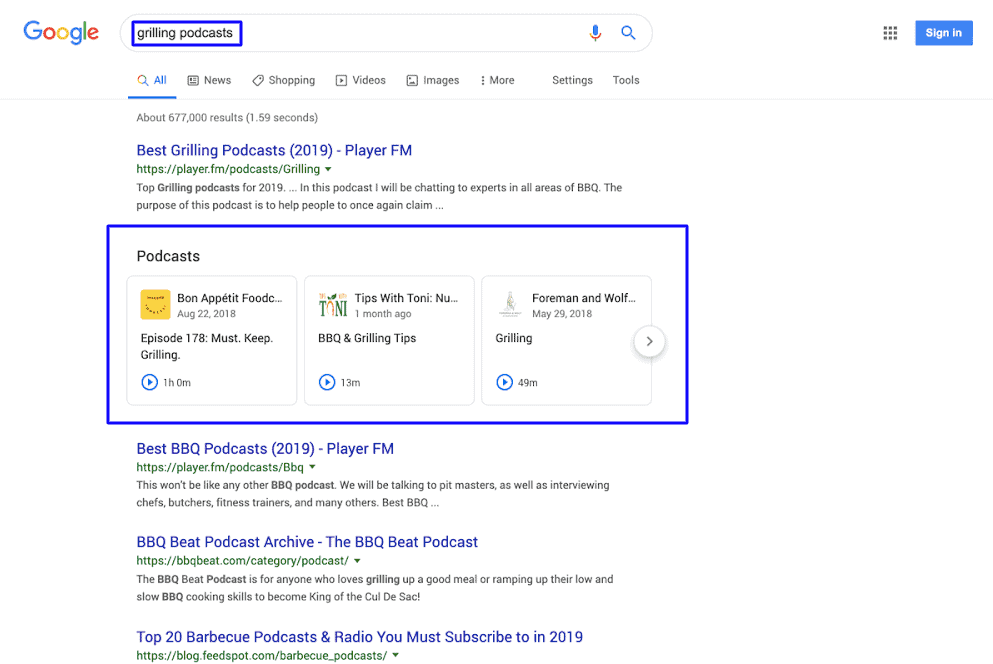Google Search results starts showing Podcast Episodes