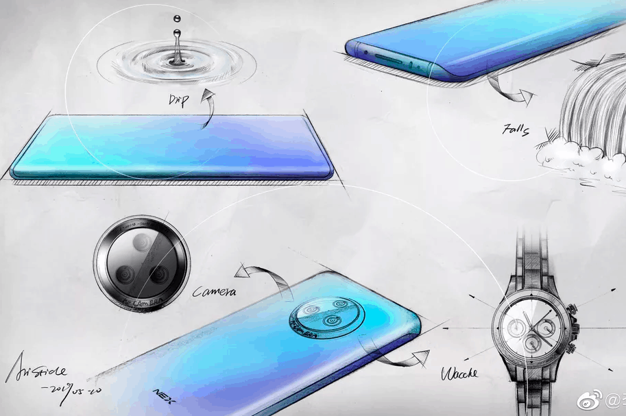 Vivo NEX 3 sketches confirm waterfall display & Circular Camera setup