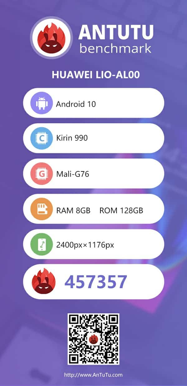 Kirin 990 AnTuTu Benchmark test