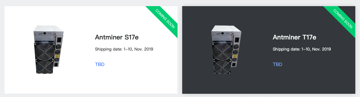 Two new Antminer 17 series Bitcoin miners scheduled to release on 9th September