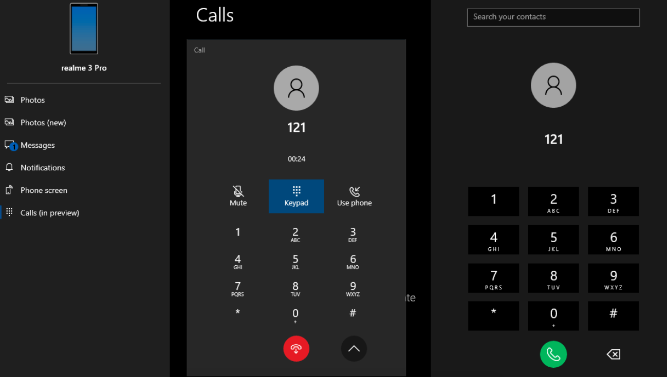 Your Phone app will let you make calls from your desktop