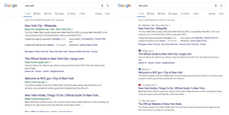 Google is testing a new design for Desktop Search Results with site favicons