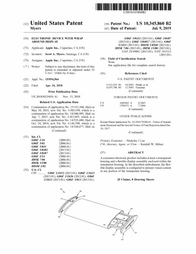 """Apple applied for """"wrap-around"""" screen design patent for iPhone"""