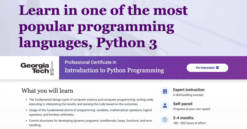 Introduction to Python Programming by Georgia Tech