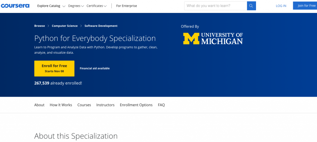 Python Certification from the University of Michigan