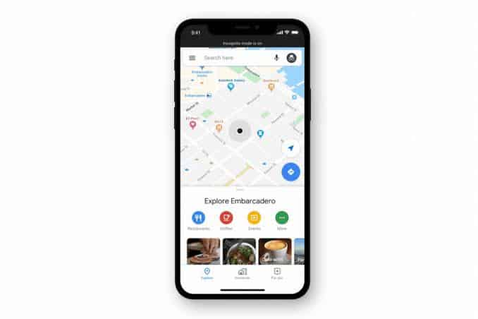 iPhone users gets incognito mode in Google maps