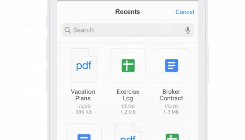 Gmail for iOS will allow to add attachments via the Files App