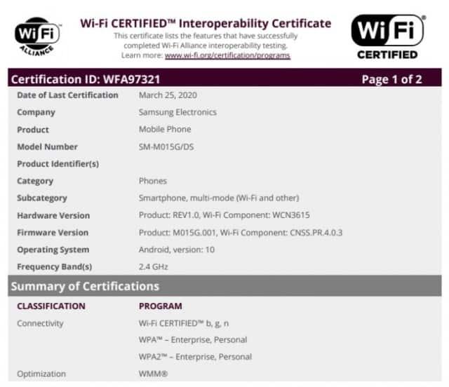 Samsung Galaxy M01 Certified by Wi-Fi Alliance
