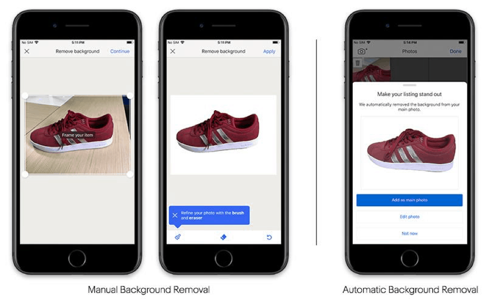 eBay's new feature remove backgrounds and focuses on the main item