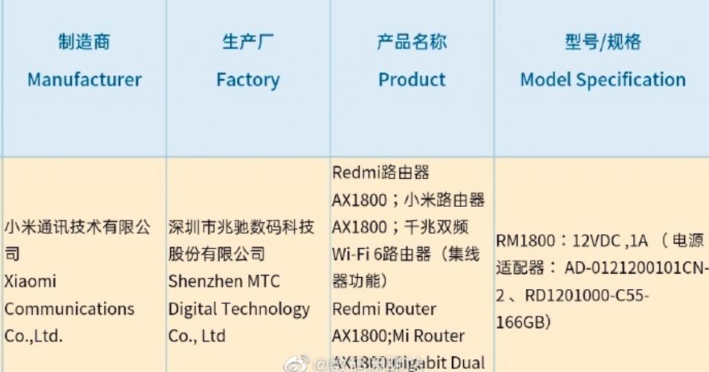 Redmi WiFi 6 router AX1800 passes 3C certification